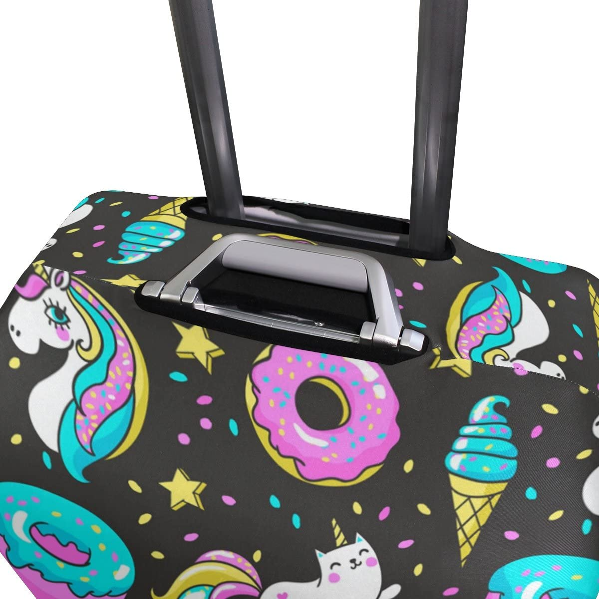 Elastic Travel Luggage Cover Unicorns Rainbow Donuts Suitcase Protector for 18-20 Inch Luggage