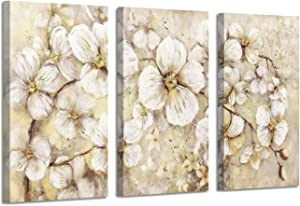 Abstract Flower Picture Canvas Art: White Bloom Gold Foil Painting for Wall Decor