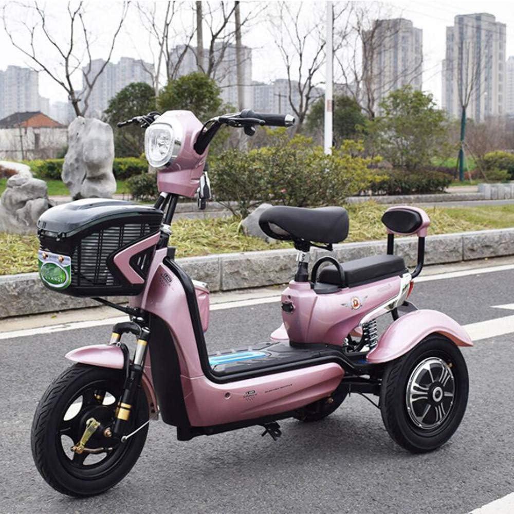 PinkDreamland Adulto Triciclo eléctrico Scooter Individual Doble eléctrico Triciclo Ancianos del Recorrido al Aire Libre Triciclo de Bicicletas Vespa 48V20a batería de Litio de Carga 200Kg,Rosado
