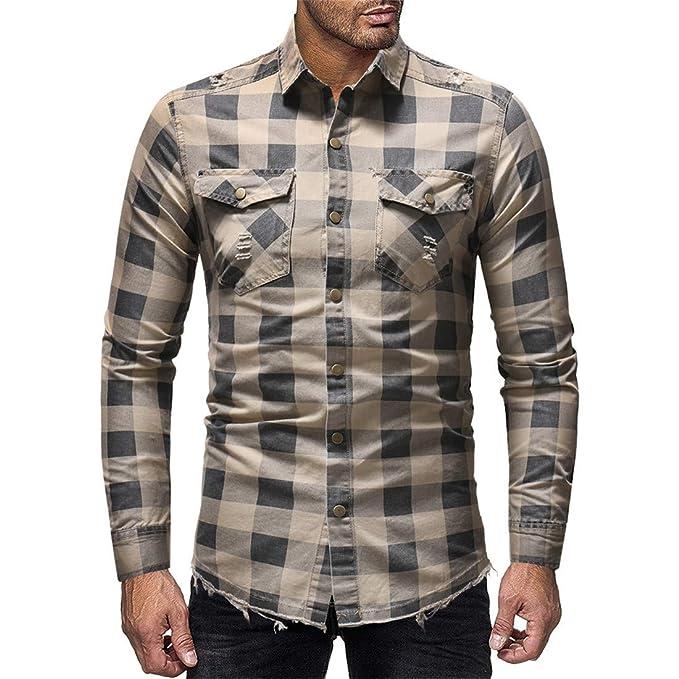 9beadf47e0 Selx - Camisa Vaquera de Manga Larga con Botones para Hombre