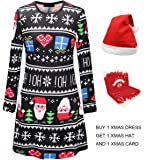 Youthwell Christmas Dress, Women Christmas Print Swing Dress Plus Size (S-5XL)