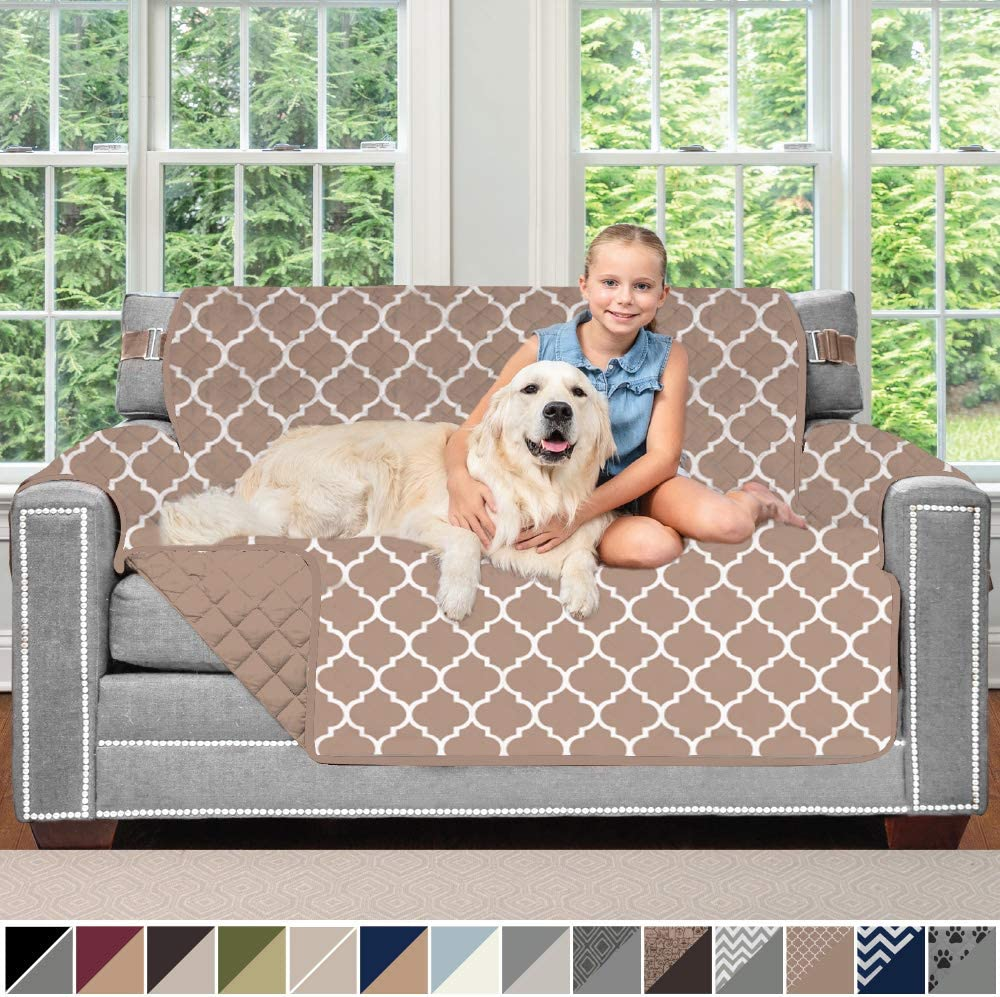 Sofa Shield Original Patent Pending Reversible Loveseat Slipcover, 2 Inch Strap Hook, Seat Width Up to 54 Inch Washable Furniture Protector, Couch Slip Cover for Pets, Love Seat, Quatrefoil Mocha