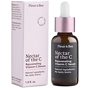 Natural Vitamin C Serum for Face – Dermatologist Tested, Anti Aging, Reduce Appearance of Wrinkles, Dark Age Spots, Lines - Ferulic Acid, Vitamin E, 15% SAP- Nectar of the C by Fleur & Bee (1 Fl Oz)
