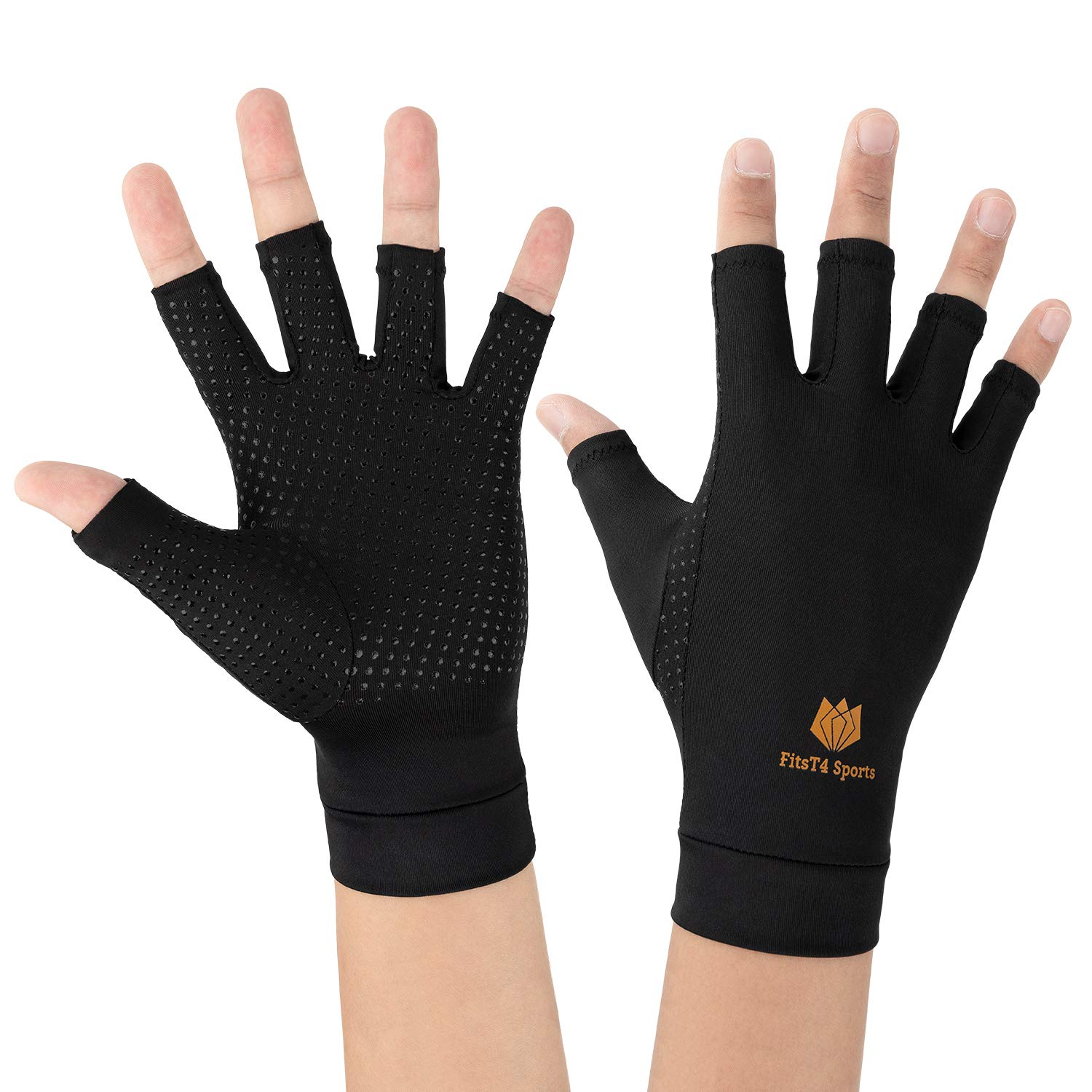 FitsT4 Arthritis Gloves for Men and Women Fingerless Compression Gloves Work for Rheumatoid Arthritis, Carpal Tunnel, RSI Osteoarthritis & Tendonitis Pair Fit Size M
