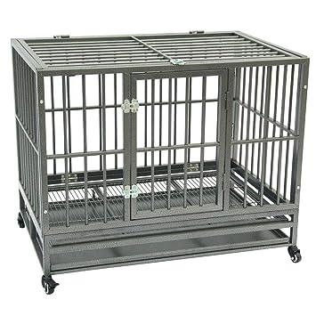 KepooMan Jaula para Perro de Doble Puerta de 42 Pulgadas, Jaula ...