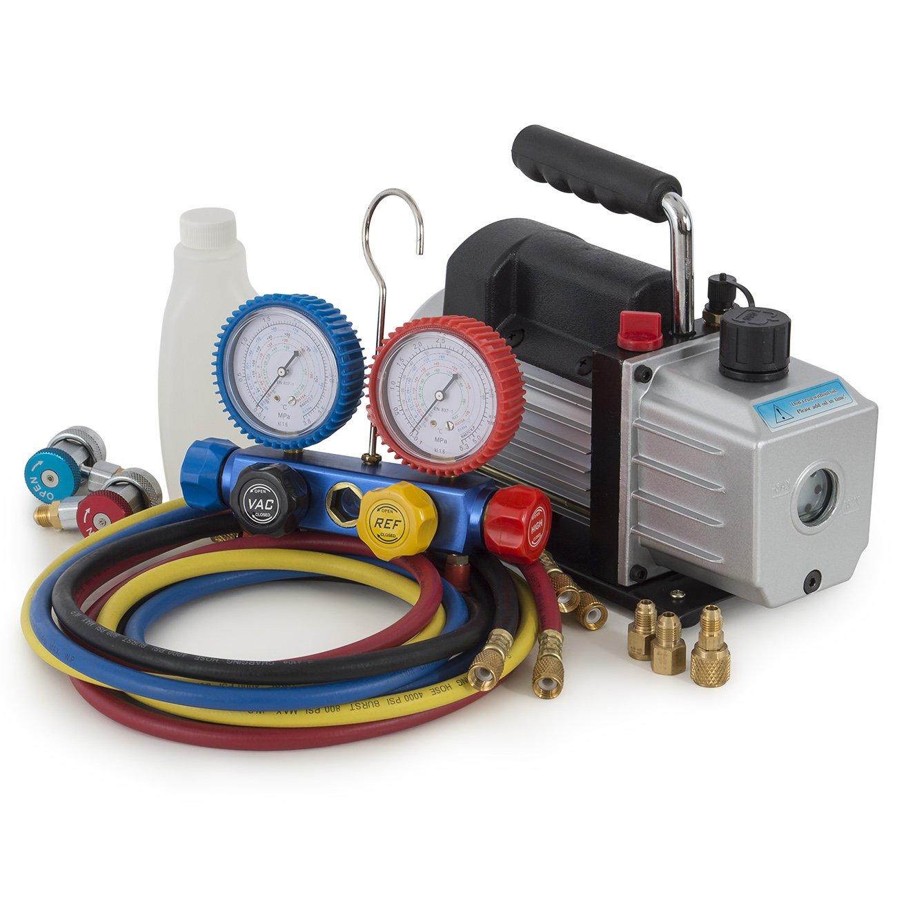 ARKSEN 4CFM Rotary Vacuum Pump 1/3HP w/ AC Manifold Gauge Set R410 R22 R134 R407C