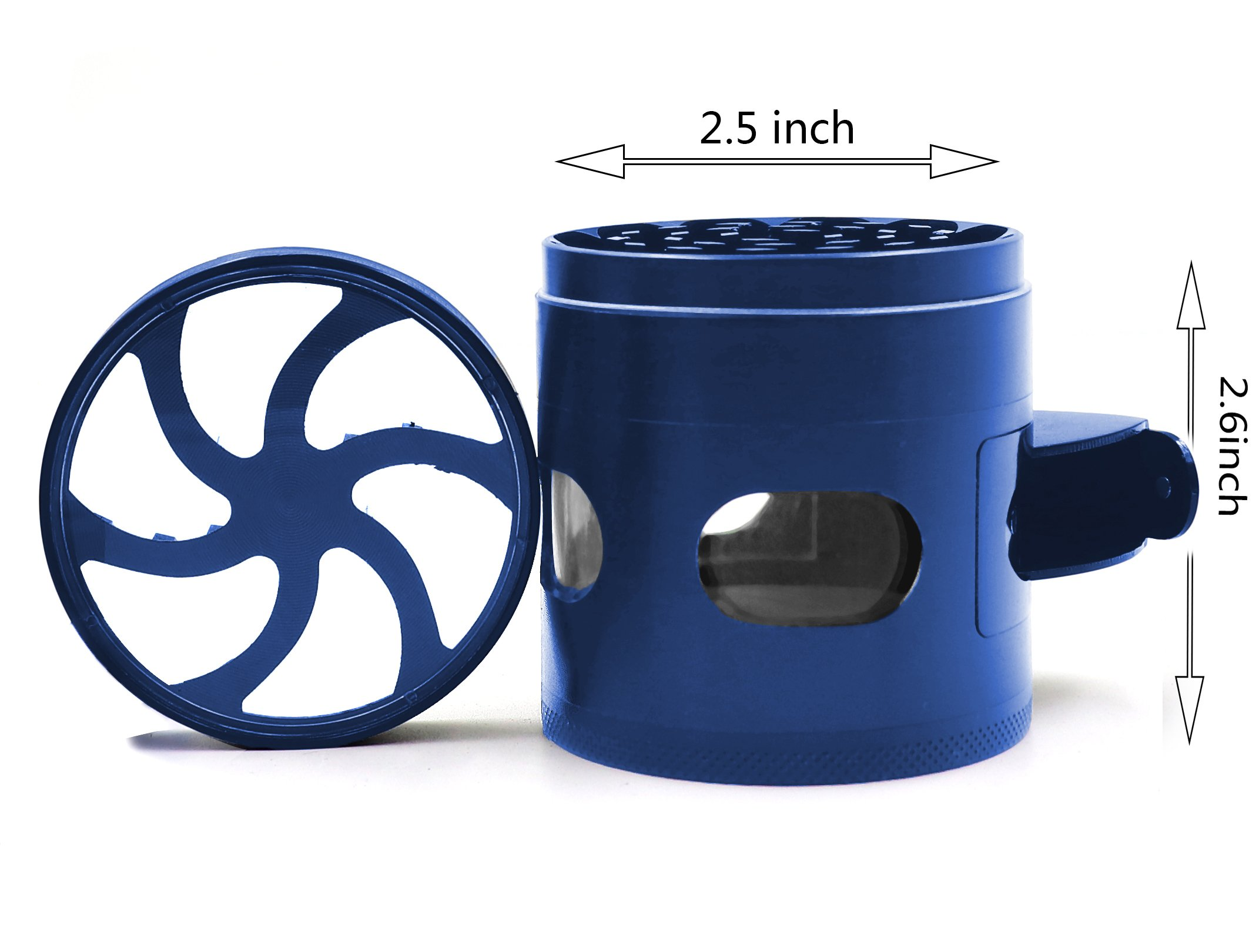 AIMAKE New Design Herb Weed& Spice 4 Piece Large 2.5 Inches Flash Windows Mills Grinder with Pollen Catcher(Blue) by aiMaKE (Image #2)