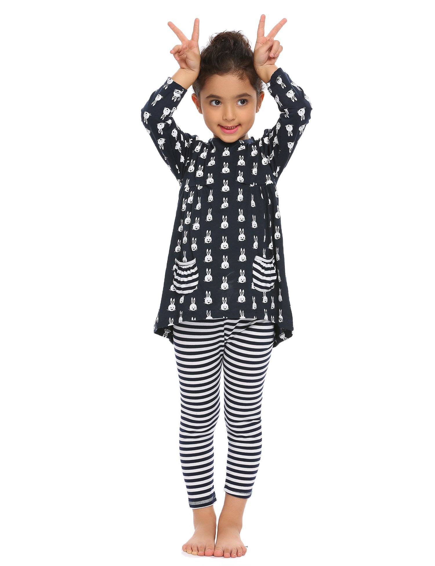 Arshiner Little Girls Long Sleeve Cute Rabbit Print with Pockets Cotton Outfit 12 pcs Pants Sets Top+Legging,Navy Blue,130(7-8years old) by Arshiner (Image #2)