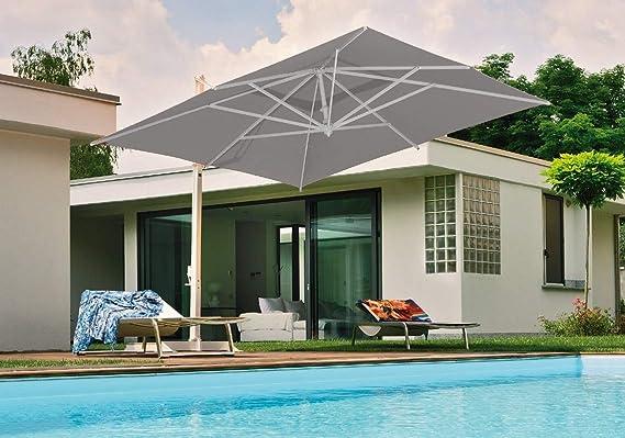 Fim Rodi Sombrilla retráctil 3x4 en Aluminio Blanco, Tela en Tejido acrílico Color Gris con Base (Azulejos no incluidos): Amazon.es: Jardín