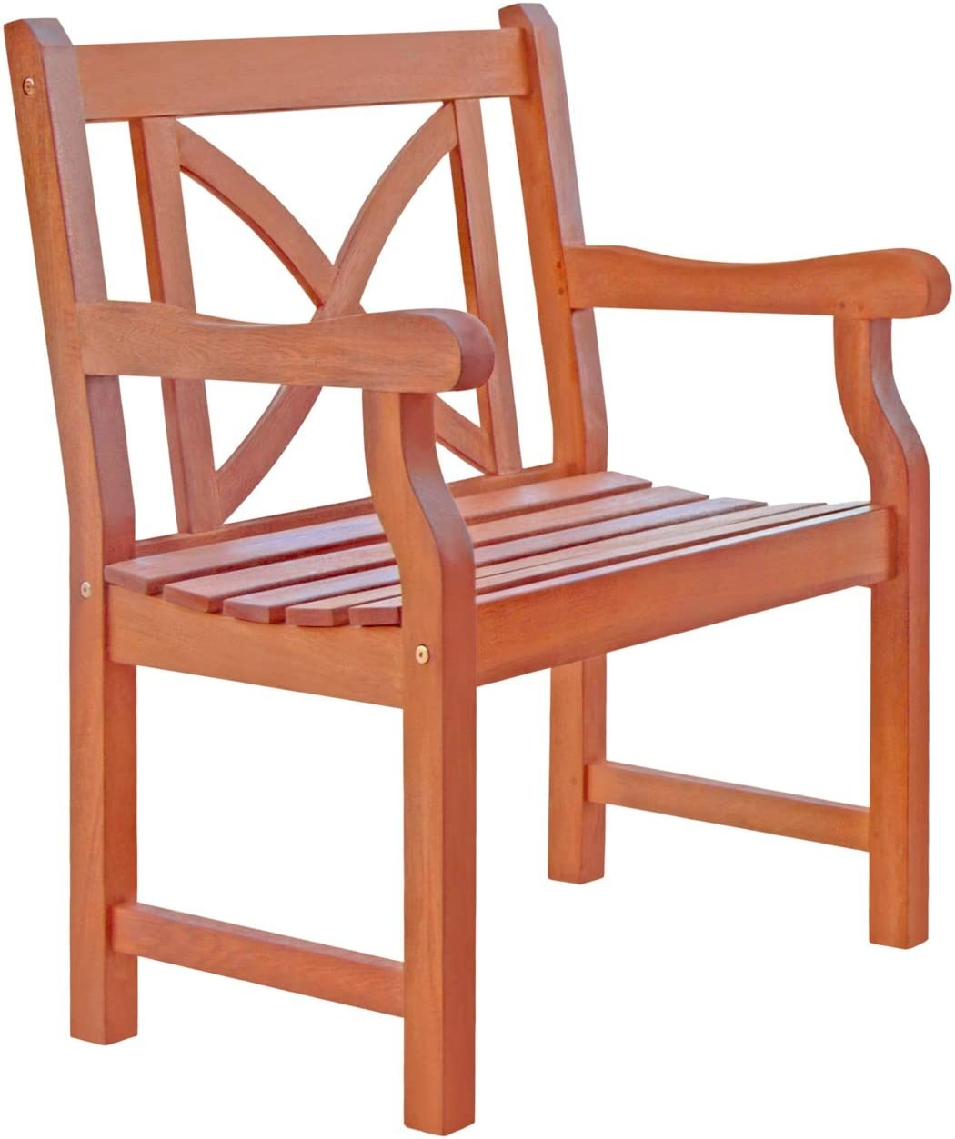 VIFAH V99 Outdoor Wood Arm Chair X-Back Design, Natural Wood Finish, 23 by 24 by 35-Inch