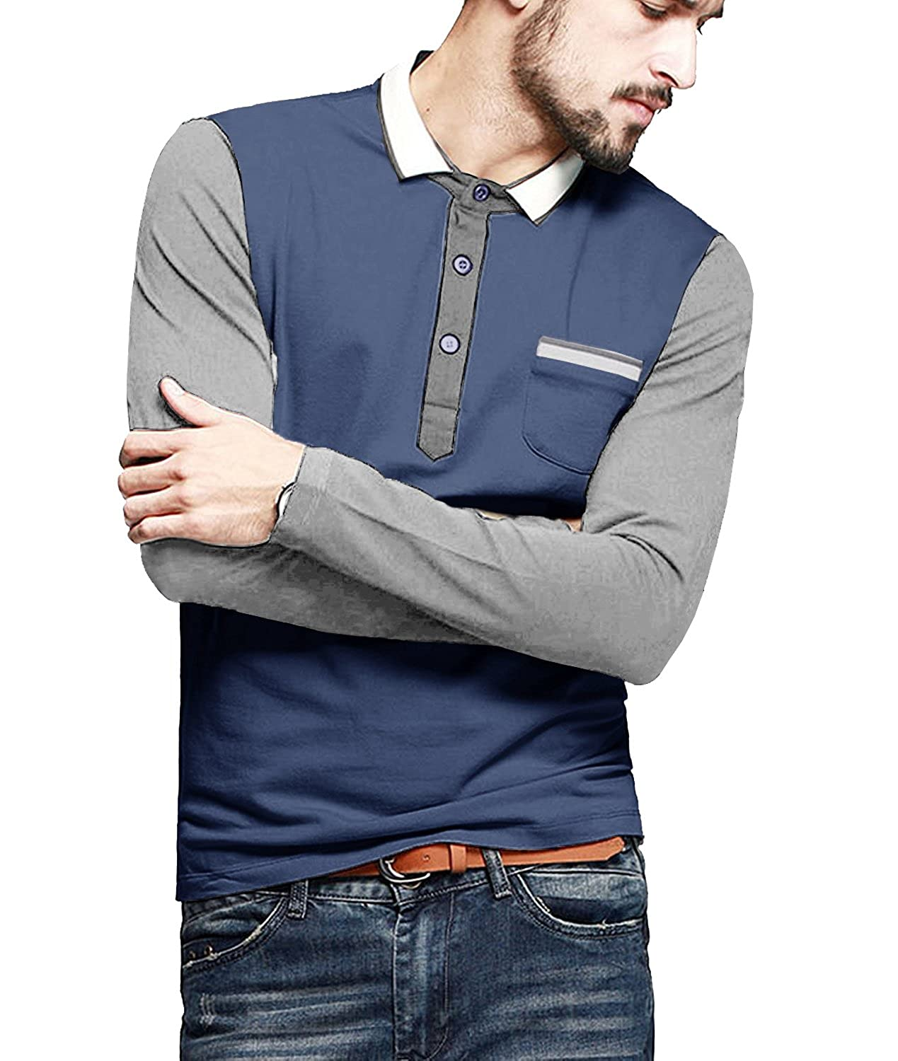 COOFANDY Mens Long Sleeve Polo Shirt Casual T-shirt