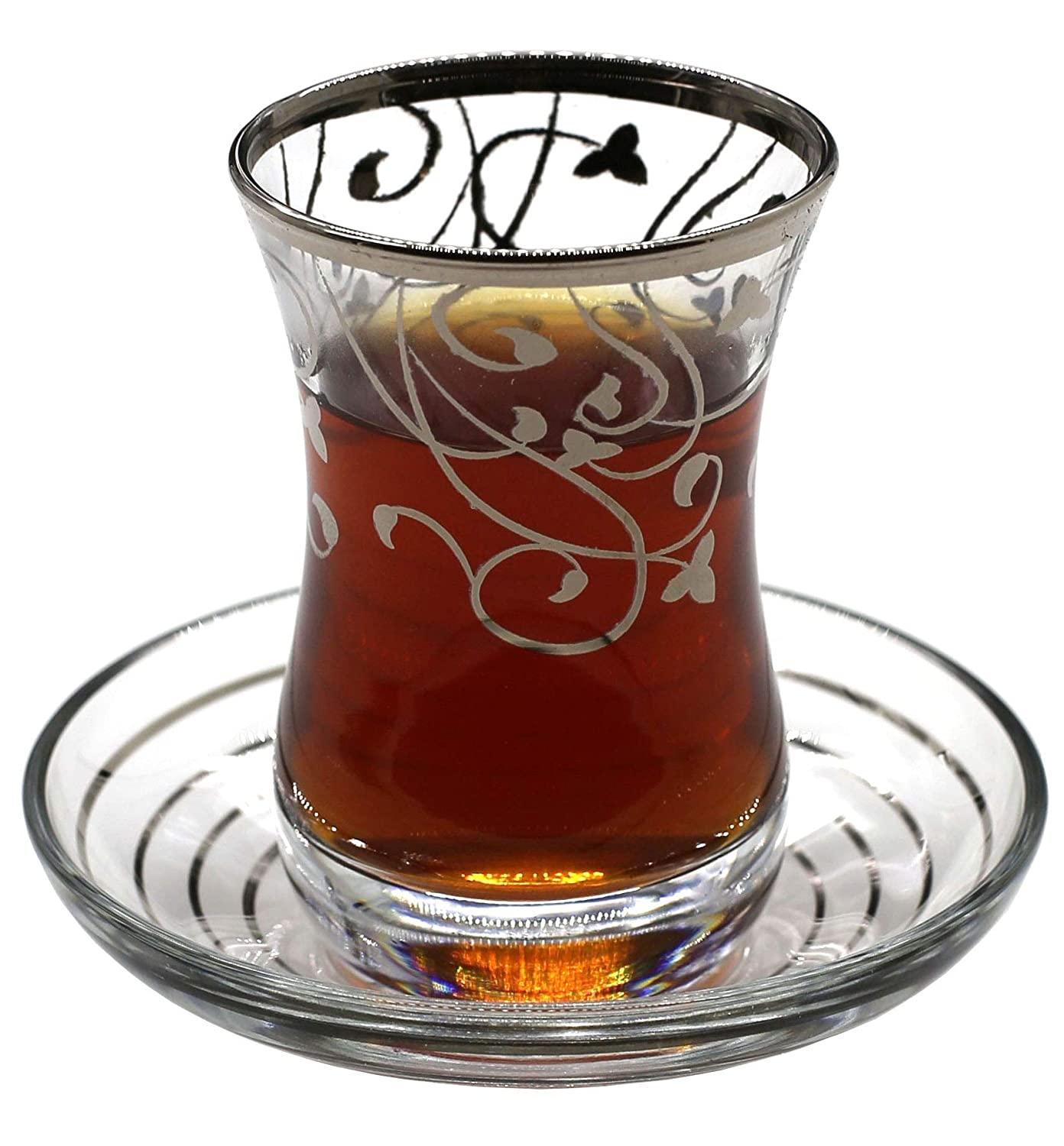 Babil Turkish Tea Glasses with Saucers Set (Set of 6) 3 OZ ABKA