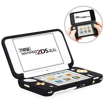 HEYSTOP Funda Protectora para Nintendo New 2DS XL, Funda Antideslizante de Silicona para Consolas New 2DSXL con Comodida al agarrar la Consola-Negro