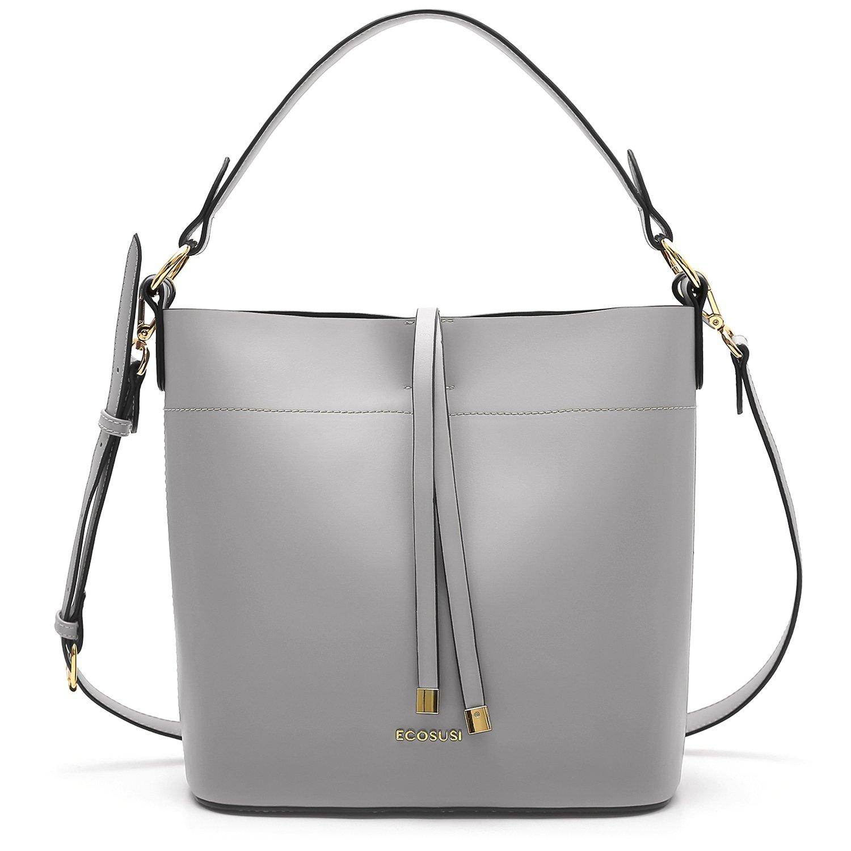 ECOSUSI Bucket Bag Women Top Handle Handbags Satchel Purse Tote Bag Shoulder Bag, Grey