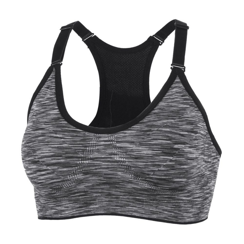 YEYELE Women Adjustable Straps and Removable Pads Tank Top Seamless Racerback Sports Bra, Gray, M(34D 36A 36B 36C 36D 38A 38B) by YEYELE (Image #1)