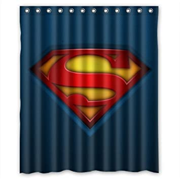 Custom Superman Logo Waterproof Polyester Fabric Bathroom Shower Curtain Standard Size 60wx72