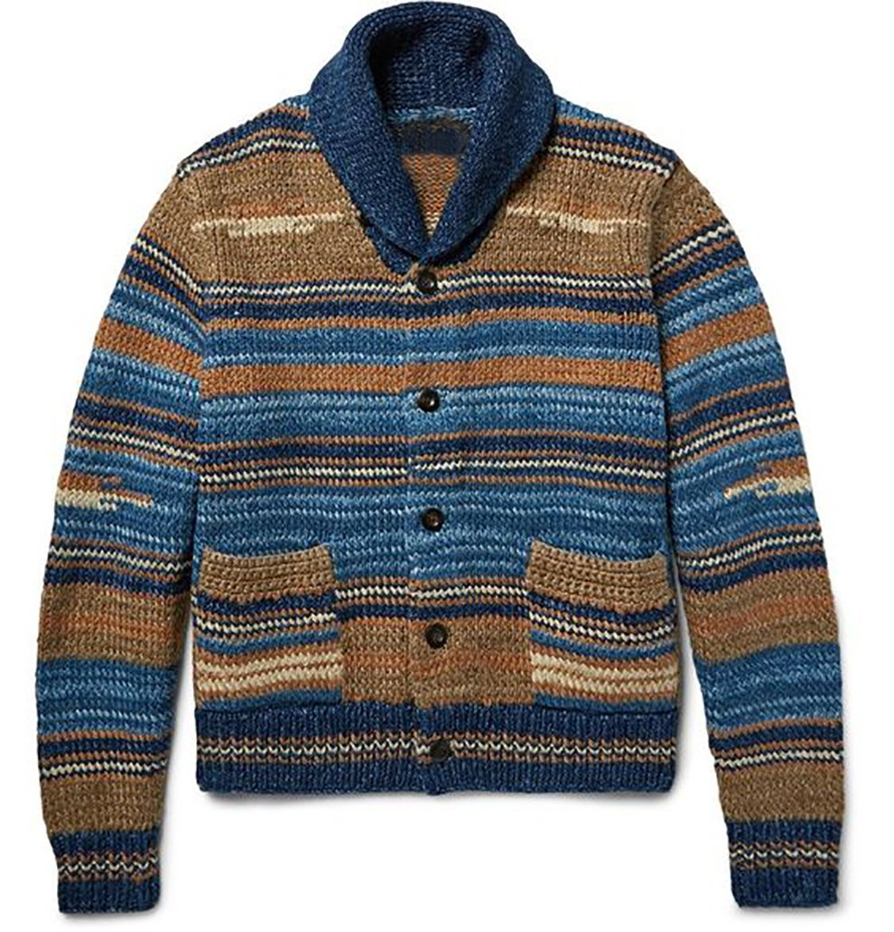 Sweet Dreams Home Deluxe 100% Royal Alpaca Shawl Cardigan, Beige Blue Stripes, Hand-Knitted