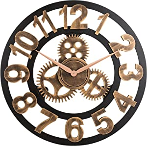 Large Arabic Numerals Wall Clock 16 Inch Vintage Wooden Skeleton Silent Non-Ticking Wall Clock Decor for Bedroom Kitchen Living Room Cafe Loft Hotel Bar Office (Gold-A)
