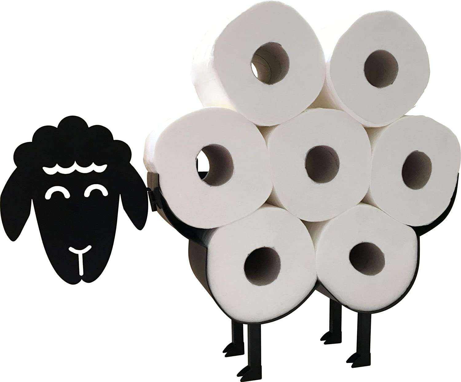 Cute Black Sheep Toilet Paper Roll Holder - Cool Novelty Free Standing or Wall Mounted Toilet Roll Tissue Paper Storage Stand & Holder | Bathroom Floor Decor Accessories | Best Gifts Idea - Neat Sheep