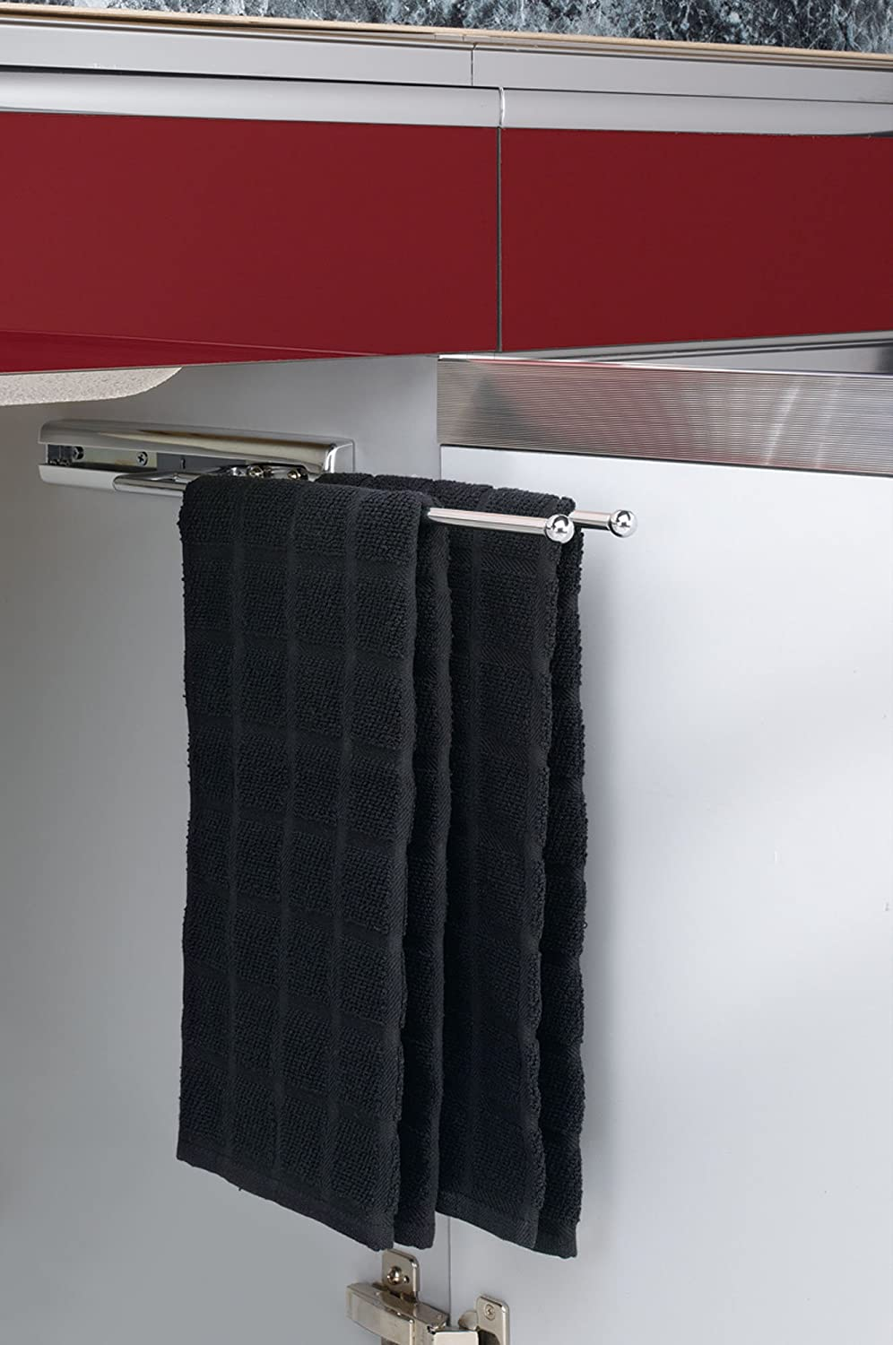 Amazon.com Rev-A-Shelf - 563-51-C - Chrome Under Cabinet 2-Prong Pullout Towel Bar Home u0026 Kitchen : towel rack for kitchen cabinet - Cheerinfomania.Com