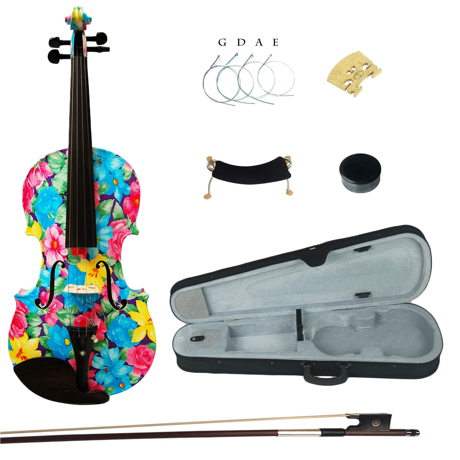 Kinglos 4/4 Blue Rose Flower Colored Ebony Fitted Solid Wood Violin Kit with Case, Shoulder Rest, Bow, Rosin, Extra Bridge and Strings Full Size (XC1002)