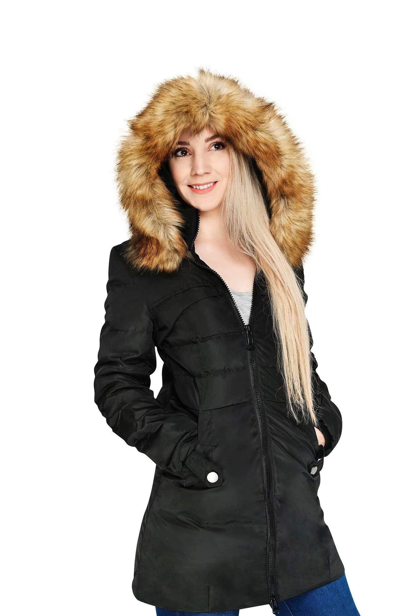 Beinia Valuker Womens Down Coat W Fur Hood With 90 Down -6704