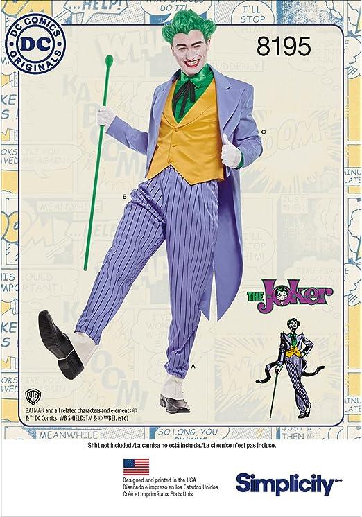 Simplicity - 8195 - Disfraz para Hombre del Joker de DC Comics ...