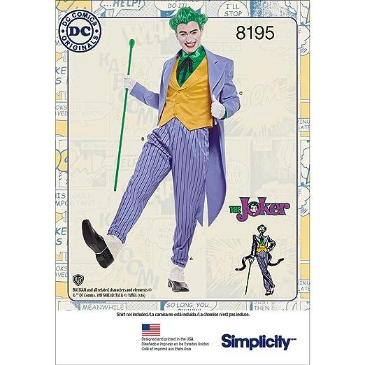 Simplicity - 8195 - Disfraz para Hombre del Joker de DC Comics - Blanco, diseño de Costura (46-48-50-52)