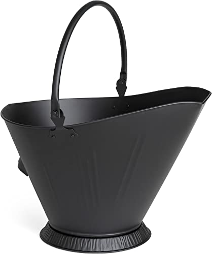 Best Choice Products Indoor Outdoor Large Wide Top Multipurpose Modern Metal Fireplace Pit Furnace Ash Bucket Storage Container w/Built-in Handle