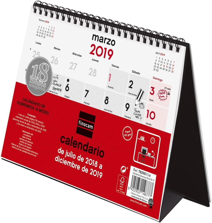 Finocam Calendario sobremesa 18 meses 2018-2019 español: Amazon.es ...