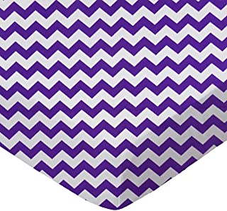 product image for SheetWorld Fitted Portable / Mini Crib Sheet - Purple Chevron Zigzag - Made In USA