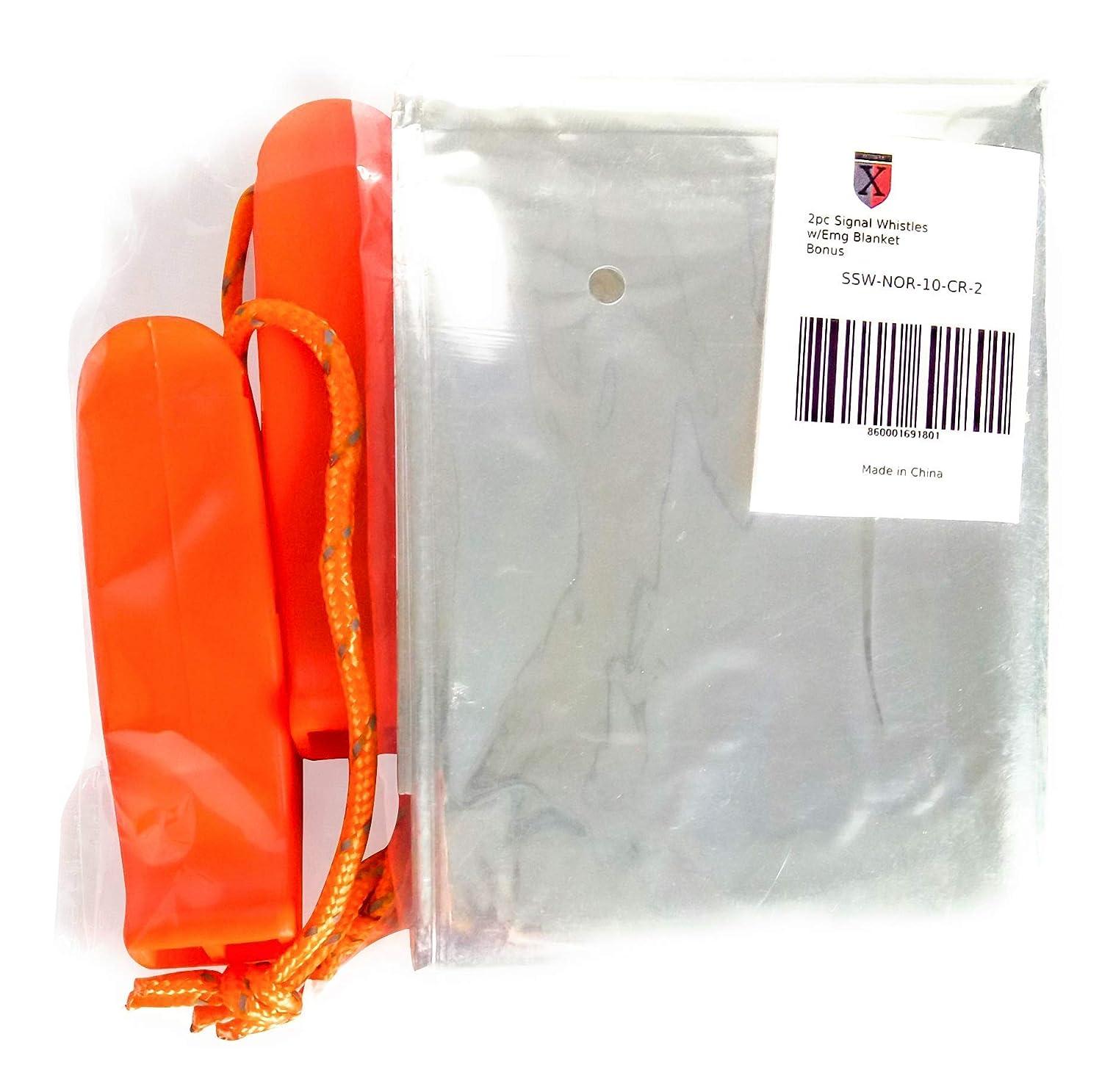 Seguridad Pl/ástico Naranja con Manta de Emergencia Emergencia Xedmark 2 Silbatos Se/ñales Supervivencia