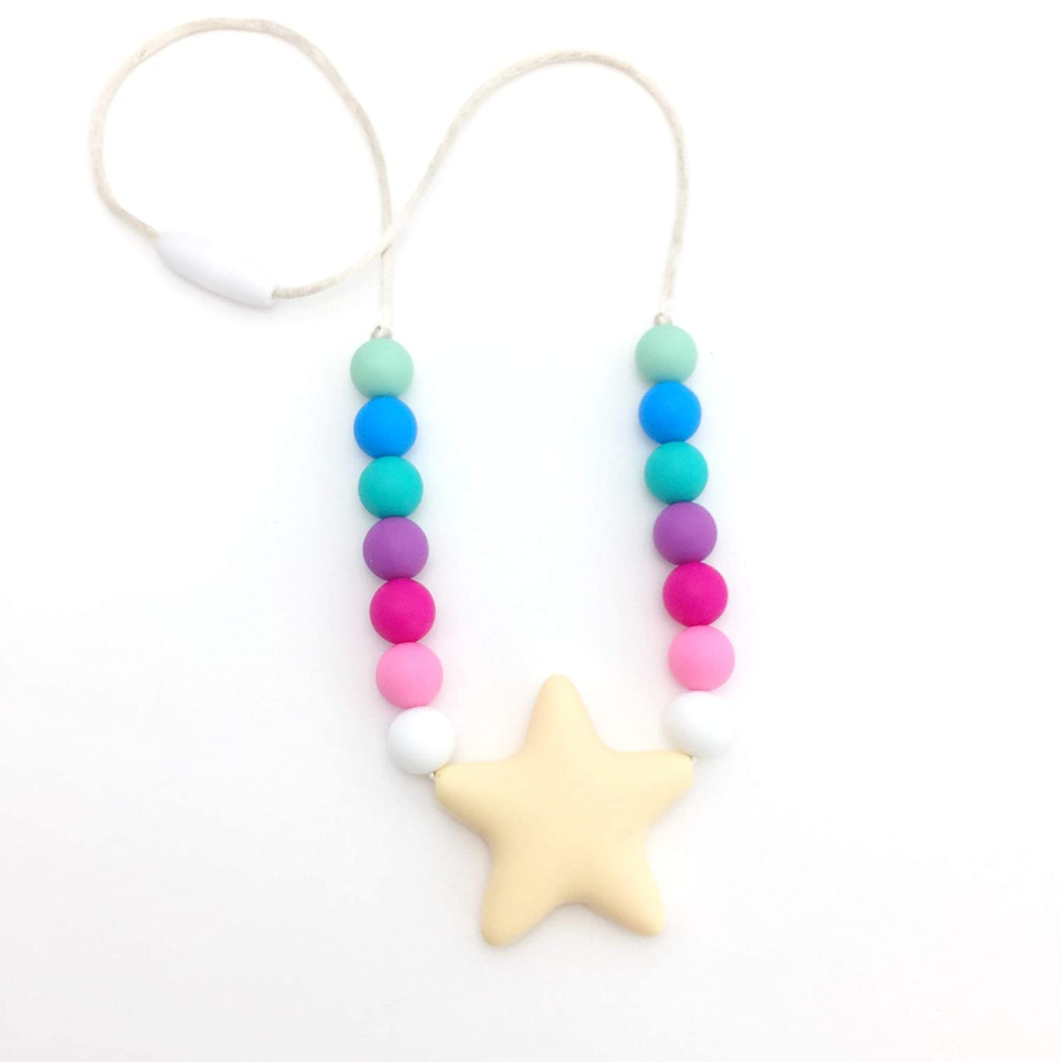 Chewy Jewelry for Sensory Kids with Autism or Special Needs Rainbow Sensory Oral Motor Chew Necklace Bite Beads Necklace. Chewlery for Teething