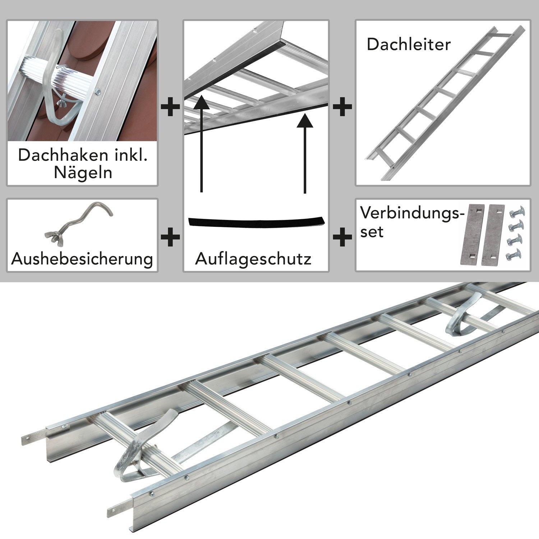 Auflageschutz und Aushebesicherung Alu Dachleiter Braun DEKRA gepr/üft Set inkl Made in Germany 50 mm gekr/öpft auf Dachsparren 5,04 m mit Dachhaken zur Montage f/ür Pfannenziegel