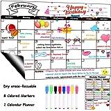 Dry Erase Calendar Board Magnetic Fridge Calendar Monthly & Weekly White Board Organizer Planner
