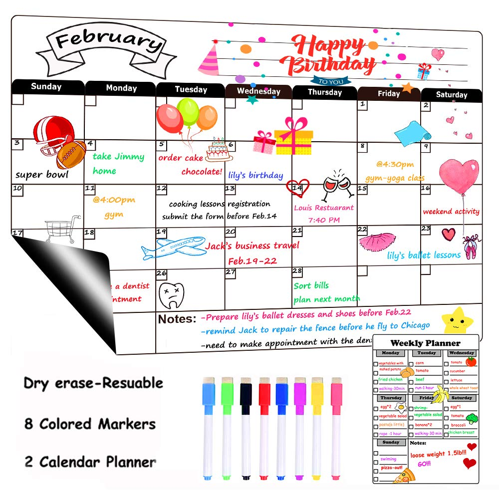 Dry Erase Calendar Board Magnetic for Refrigerator Monthly&Weekly Calendar Whiteboard Organizer Planner