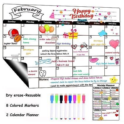 Calendario de borrado en seco con calendario magnético para nevera ...