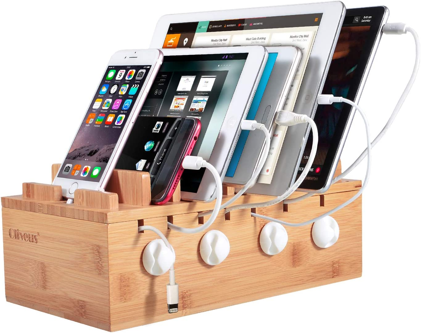 Desktop Mobile Charging Station /& Cables Adapters USB Hubs Power Strip Organizer