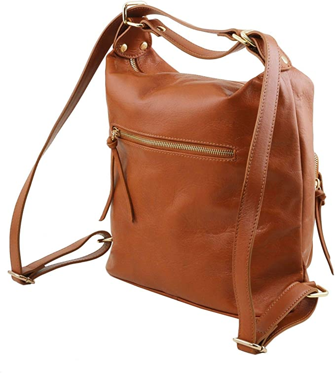 Tuscany Leather TLBag Borsa donna in pelle convertibile a zaino Cannella