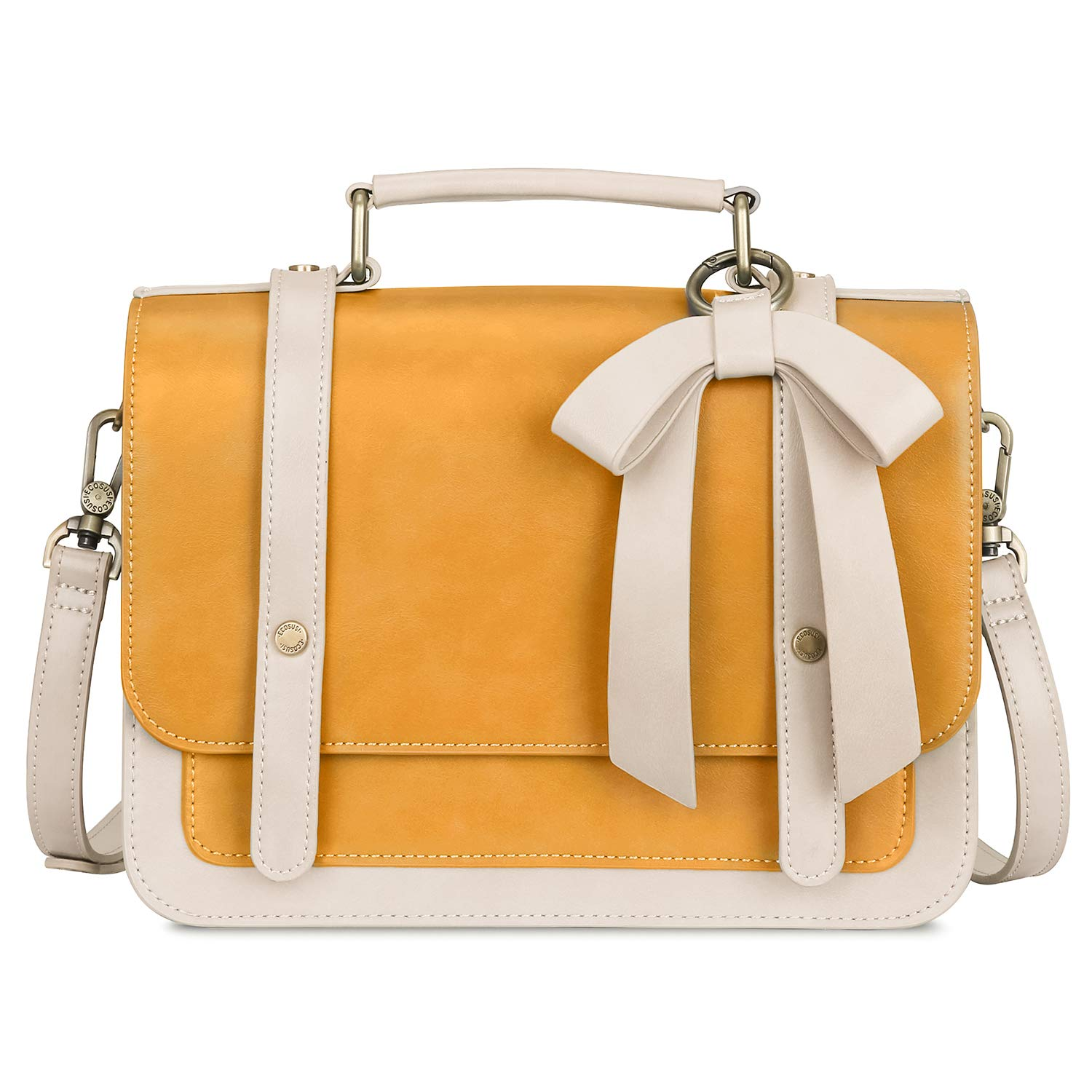 ECOSUSI Women's Small Vintage PU Leather Crossbody Satchel Bag with Detachable Bow, Yellow