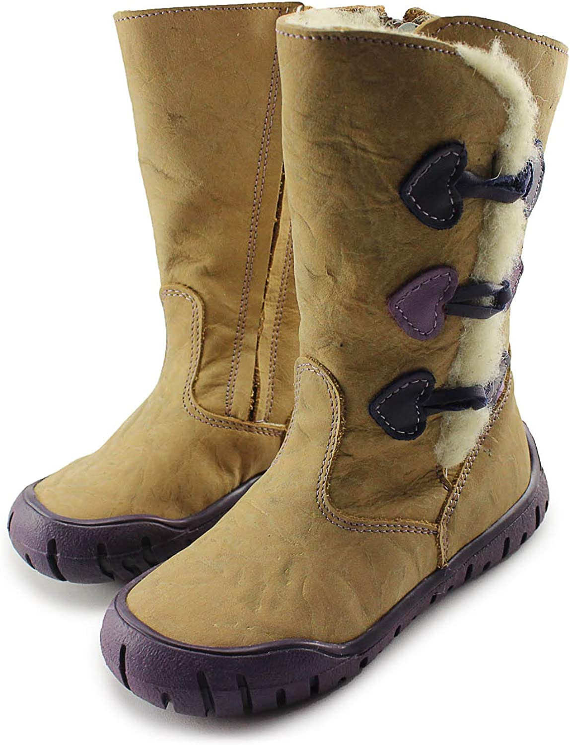Mazurek Beige Girls Winter Leather Boots Made in Poland CLEARANCE SALE