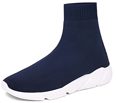 NEWCOLOR Zapatillas De Deporte De Corte Alto Slip-on De Moda Unisex Zapatos De Holgazán De Pareja De Punto Zapatillas De Deporte De Gimnasio De Punto: ...