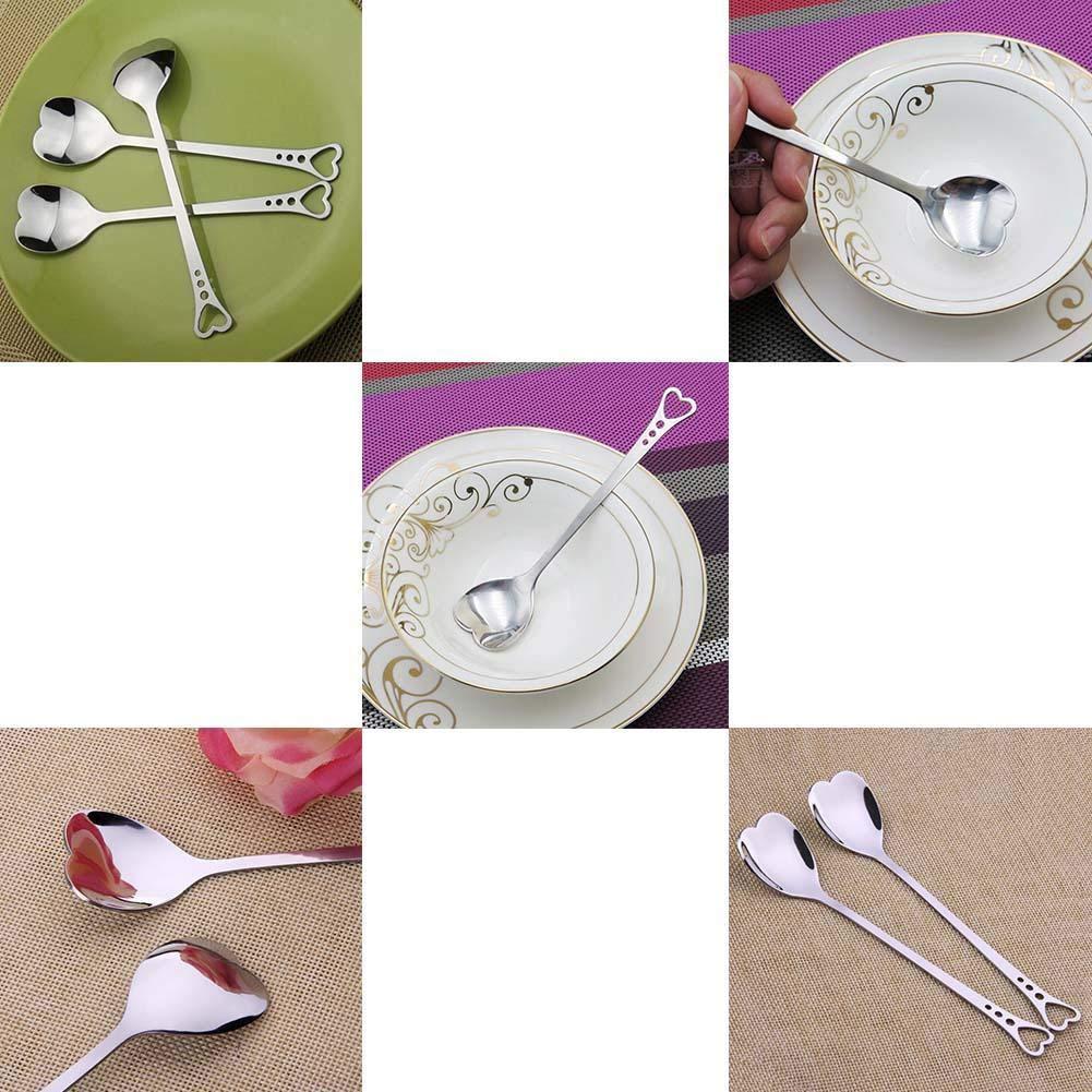 Blue Vesse Edelstahl Herz-f/örmigen L/öffel Kuchen Herzl/öffel Liebe L/öffel Kaffee L/öffel Tee L/öffel Dessert Wasser Milch L/öffel Heart-Shaped Spoon