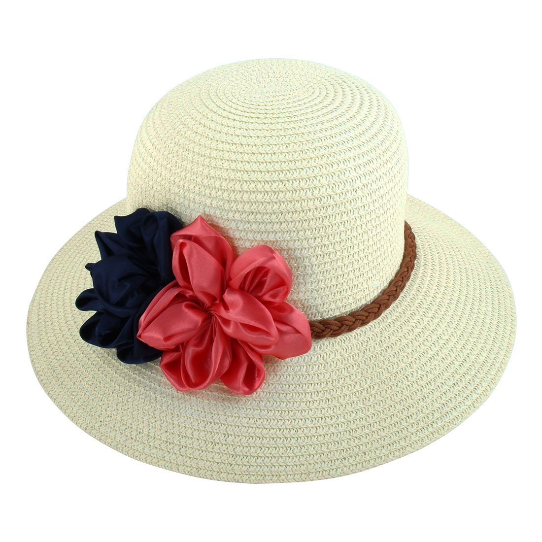 bbd83082 White : Generic Lady Traveling Straw Braided Flowers Decor Beach Sun Bucket  Hat Sunhat: Amazon.in: Home & Kitchen