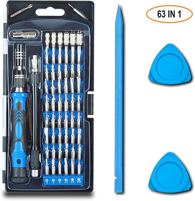 Precision small computer screwdriver set, including trox, Hex, Pentalobe mini magnetic screwdriver kit, also suitable for phone, iPhone, Laptop, PC, MacBook, PS4 and other electronics repair - 63IN1