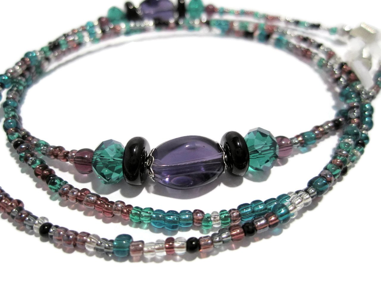 Purple and Teal Mix Beaded Eyeglass Holder - Glasses Chain - Eyeglass Lanyard by ATLanyards