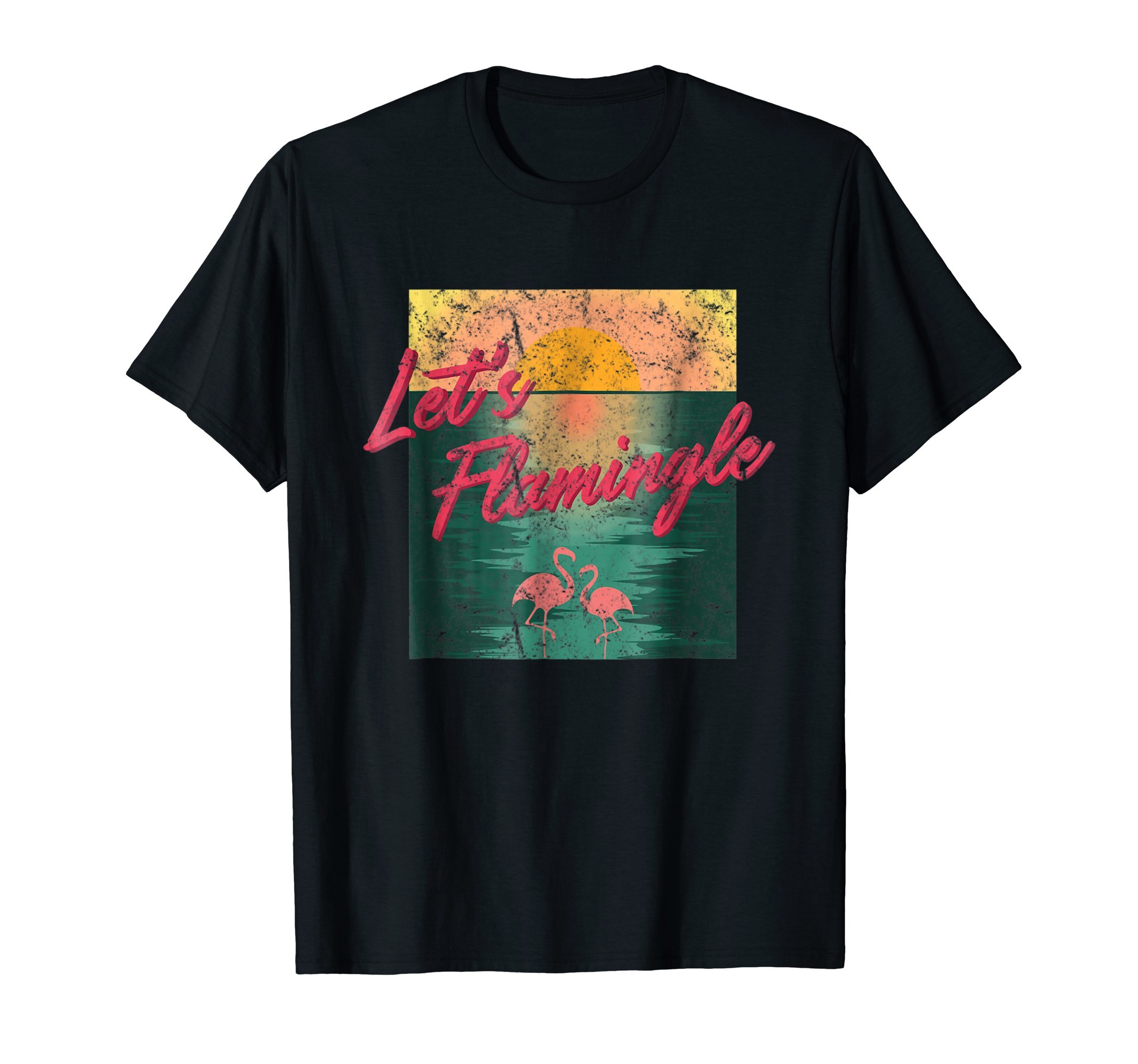 Let's Flamingle | Funny Vintage Beach Travel Surfing T Shirt