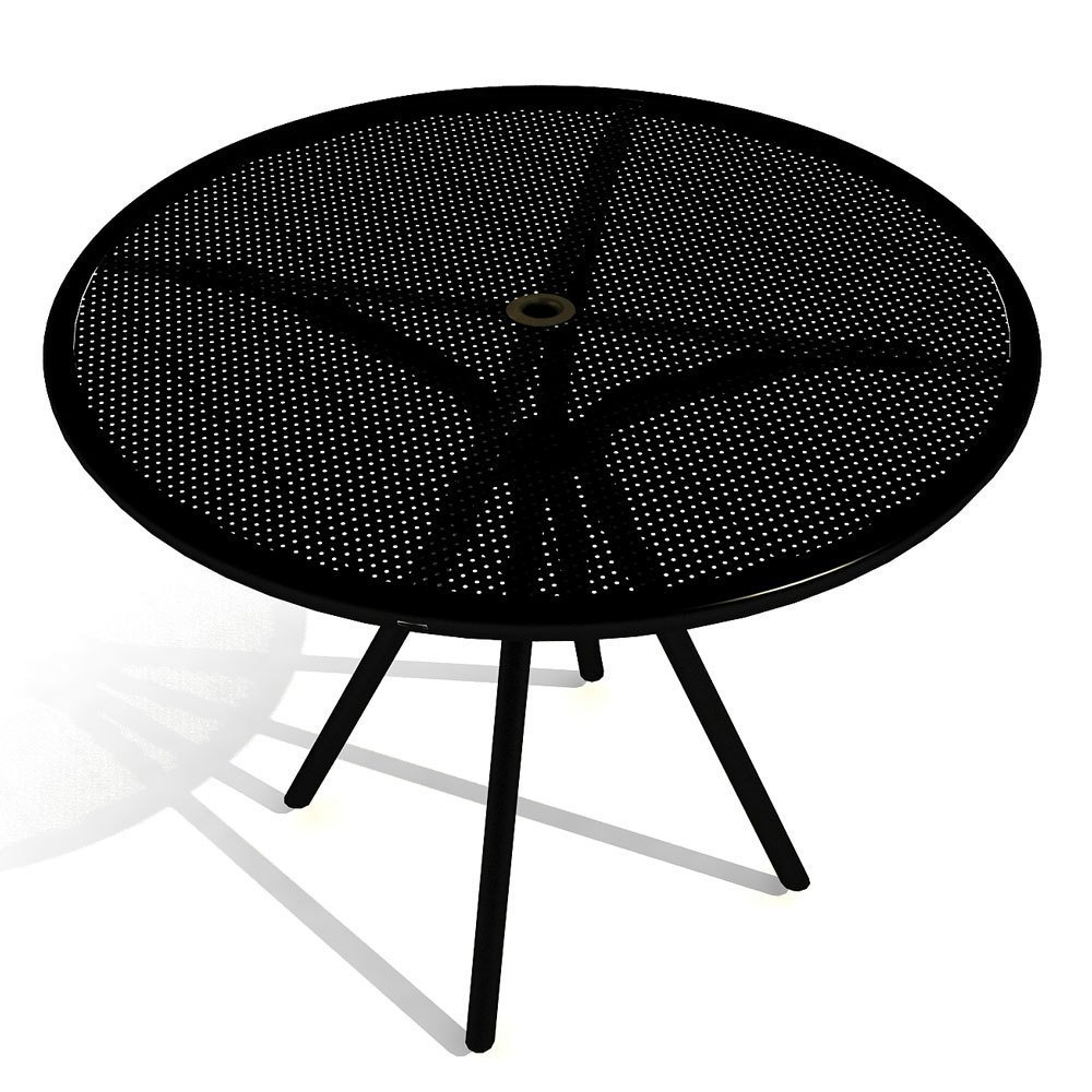 American Tables & Seating AB36 Outdoor Round Table, Fine Mesh Top, Umbrella Hole, 36'' Width, Black by American Tables & Seating