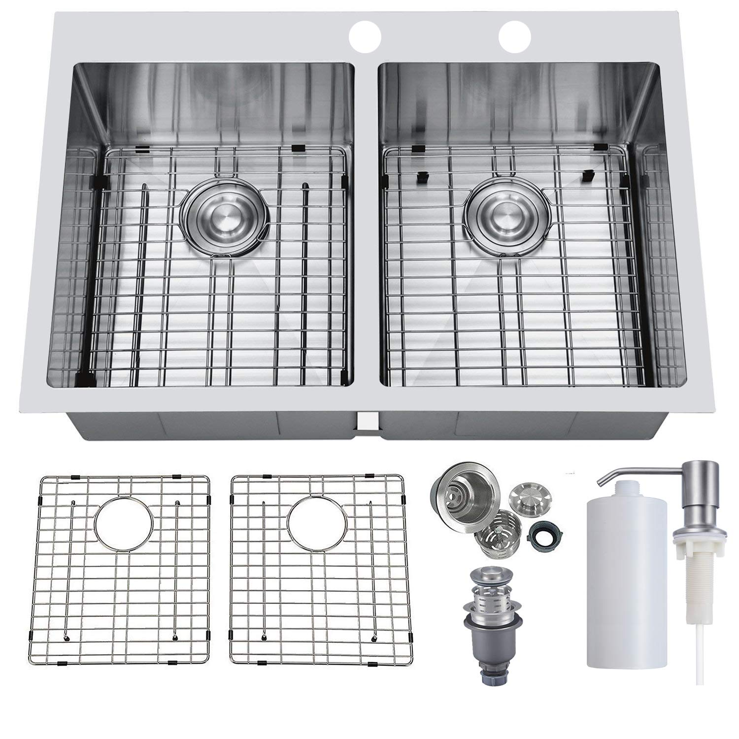 PRIMART PHT33DE Handmade 33'' Inch 16 Gauge Top mount 50/50 Double Bowls Stainless Steel Drop In Kitchen Sinks w/Stainless Steel Bottom Grid,Sink Strainer&Soap Dispenser