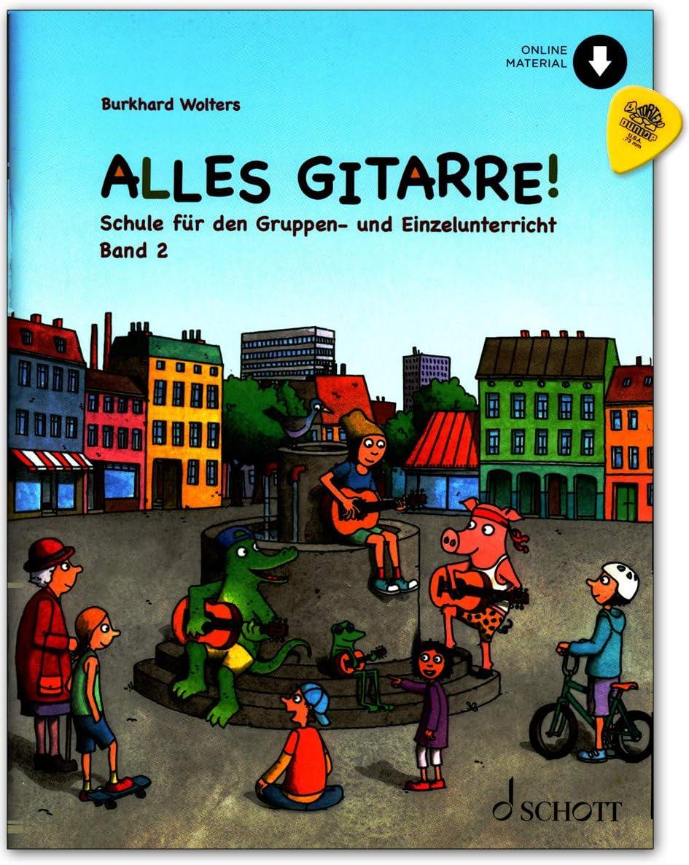 Alles Guitarre! Band 2 ED23143 9783795716936 - Libro de aprendizaje (con partituras), audio en línea, púa